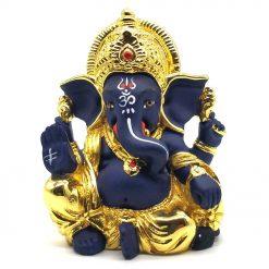 Gold Plated Raja Ganpati Idol - 7.5cm